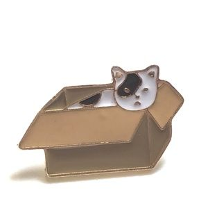 Jewelry - Cat in a Box Gold Tone Enamel Pin Backpack Pin